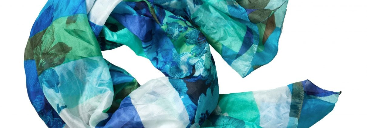 green and blue silk headscarf isolated on white background